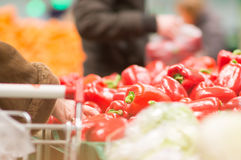 Varitey of peppers on boxes in supermarket Royalty Free Stock Images