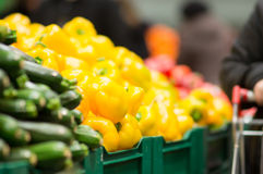 Varitey of peppers on boxes in supermarket Royalty Free Stock Photo