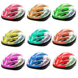 Varities color of bicycle safety helmet isolated on white backgr Stock Image