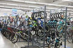 Varity of bicycle sell in the shop , Bike area in Decathlon store. Bicycles zone of Decathlon store from shanghai, china royalty free stock photography
