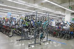 Varity of bicycle sell in the shop , Bike area in Decathlon store. Bicycles zone of Decathlon store from shanghai, china stock image