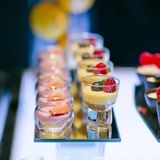 Varity of fancy panna cotta Royalty Free Stock Photography