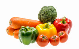 Varity of fresh vegetables on white background. Stock Photo