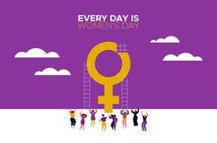 Varje dag är kvinnors dagkortet med flickadans stock illustrationer