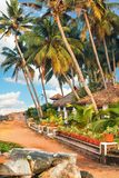 Big bungalow street in the tropical resort. Varkala, India - February 09, 2016: big luxury bungalow street in the tropical resort, palm tree alley, idylic place Royalty Free Stock Photography