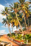 Big bungalow street in the tropical resort. Varkala, India - February 09, 2016: big luxury bungalow street in the tropical resort, palm tree alley, idylic place Royalty Free Stock Images