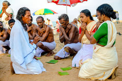 Varkala, India - February 22, 2013: Hindu Brahmin with religious Stock Images