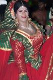 Varkala Indien - mars 23, 2016: traditionell Kathakali dans på den Holi festivalkarnevalet i Varkala, Kerala, Indien royaltyfri bild