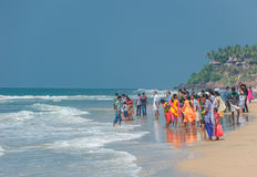 VARKALA, KERALA, INDIA - January, 22: CIndian people at Varkala Stock Photos