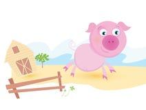 Varken op landbouwbedrijf stock illustratie