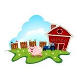 Varken op landbouwbedrijf voor uw ontwerp Royalty-vrije Stock Foto's