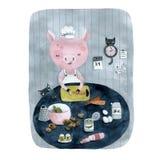 Varkens cookand kat in de keuken royalty-vrije illustratie