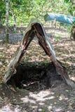 Varkens roosterende kuil op een plattelandsgebied dichtbij Baracoa, Cu stock fotografie