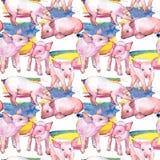 Varkens wild dierlijk patroon in een waterverfstijl stock illustratie