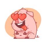 Varkenskarakter in liefde Royalty-vrije Stock Fotografie