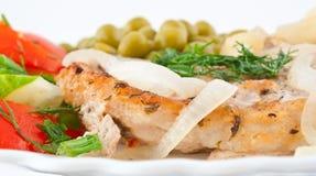 Varkenskotelet met groenten Stock Fotografie
