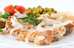 Varkenskotelet met groenten Royalty-vrije Stock Afbeeldingen