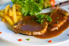 Varkenskoteletlapje vlees Stock Foto's