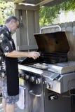 Varkenskoteletten Barbecuing op de Grill stock afbeelding