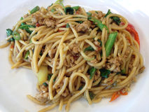 Varkenskoteletten van spaghetti de dronken noedels Stock Afbeelding