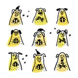 Varkensreeks Grappige varkens met suikergoedriet, giften en santahoeden 2019 Chinese Nieuwjaarsymbolen De karakters van de krabbe vector illustratie