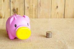 Varkensspaarvarken van roze plastiek wordt gemaakt dat Stock Foto