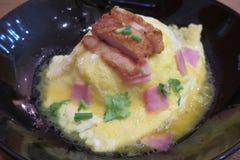 Varkensvlees en omelet met rijst Royalty-vrije Stock Foto