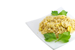 Varkensvlees gebraden die rijst op wit wordt geïsoleerd stock afbeelding