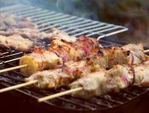 Varkensvlees kebab Stock Foto's