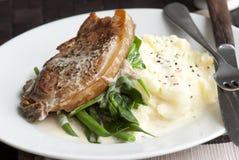 Varkensvlees met fijngestampte aardappels Stock Foto's
