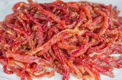 Varkensvlees met kruiden onder zonlicht wordt gemengd dat Royalty-vrije Stock Afbeeldingen