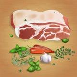 Varkensvlees met smakelijke sausen en kruiden Stock Afbeeldingen