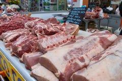 varkensvlees Ruw vlees op de markt Royalty-vrije Stock Foto
