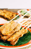 Varkensvlees Satay op houten achtergrond Royalty-vrije Stock Foto