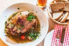 varkensvleesgewricht Beiers geroosterd knuckel van porkp royalty-vrije stock afbeeldingen