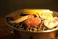 Varkensvleesgrill op hete steenkolen Stock Afbeeldingen