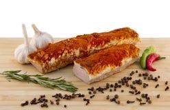 Varkensvleeshals aan boord Stock Foto's