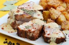 Varkensvleesribben met mosterd en kruiden Royalty-vrije Stock Afbeelding