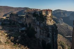 Varlaam Monastery in Meteora rocks, meaning `suspended into air` in Trikala. Greece Stock Image