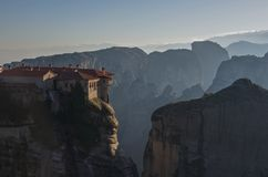 Varlaam Monastery in Meteora rocks, meaning `suspended into air` in Trikala. Greece Royalty Free Stock Photography