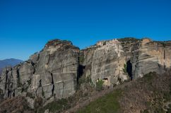 Varlaam Monastery in Meteora rocks, meaning `suspended into air` in Trikala. Greece Stock Images