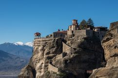 Varlaam Monastery in Meteora rocks, meaning `suspended into air` in Trikala. Greece Royalty Free Stock Photo