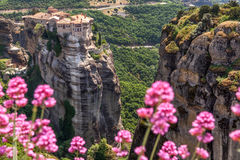 Varlaam monastery at Meteora in Trikala region in summer, Greece Royalty Free Stock Photo
