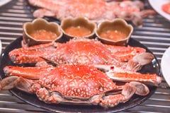Varm ångad röd konung Crabs på den varma krukan för svart platta Arkivfoto
