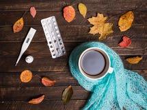Varm örtte, preventivpillerar, nasala droppar, termometer och hösttjänstledigheter Royaltyfri Fotografi
