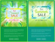 Varm aktivering 70 för affischer för sommarSale rengöringsduk av baner stock illustrationer