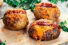 Varm bakad potatis med ost, bacon och gräddfil Royaltyfri Bild