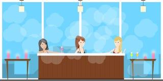Varm bubbelpoolbrunnsort royaltyfri illustrationer