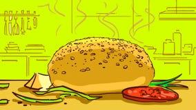 Varm bulle för tecknad film för hamburgare på köksbordet Arkivbild