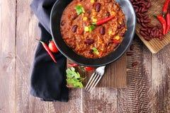 Varm chili con carne - kryddig mexikansk mat som är smaklig och Royaltyfria Bilder
